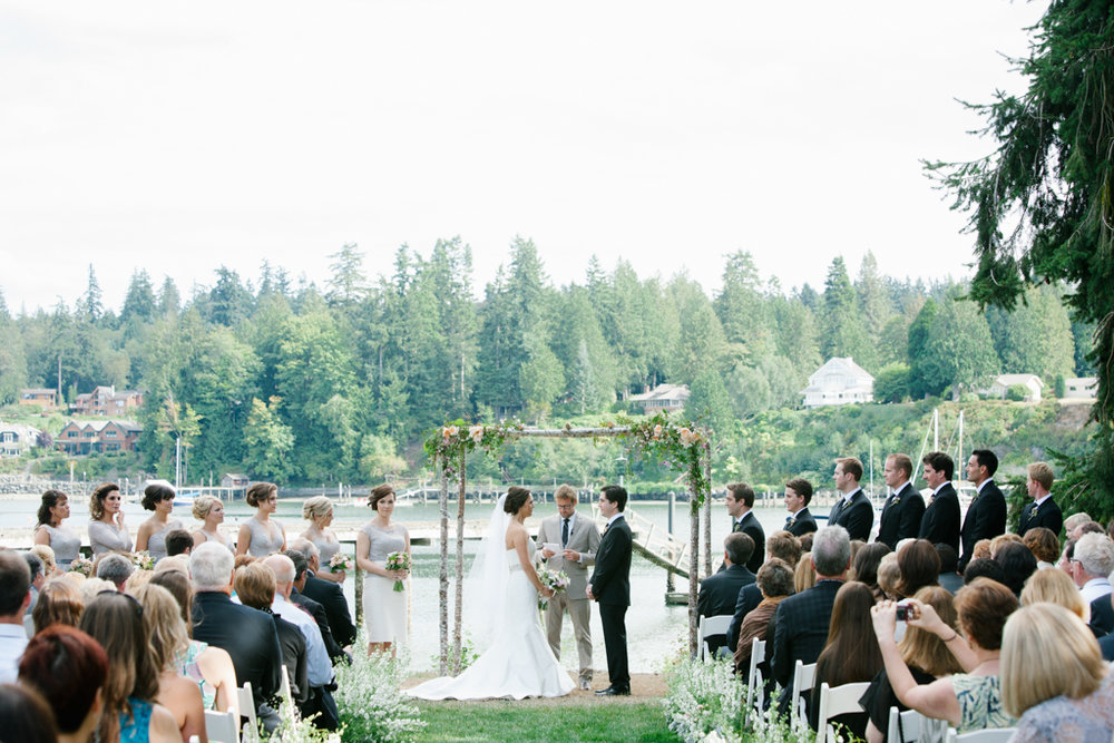 Birch Arch for Wedding Ceremony at Private Home in Poulsbo, WA
