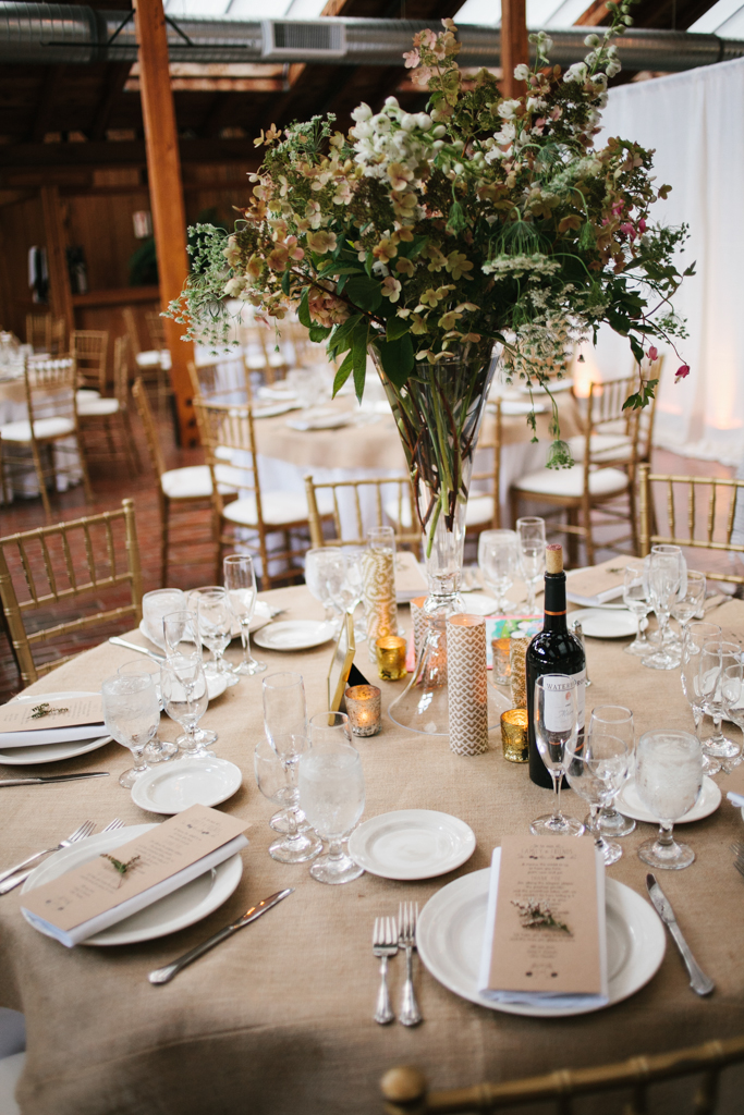 Grand Rustic Wedding Centerpiece at Kiana Lodge Wedding
