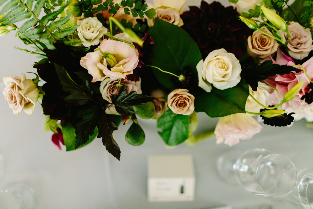 Dramatic Fall Wedding Flower Centerpiece for Fremont Foundry Wedding