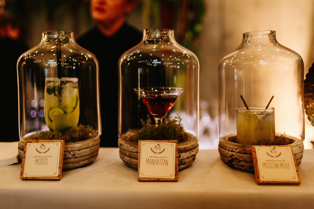 Unique Specialty Cocktail Display for Fremont Foundry Wedding