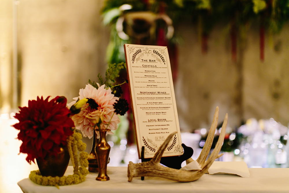 Antler Wedding Decor and Idea for Fremont Foundry Wedding