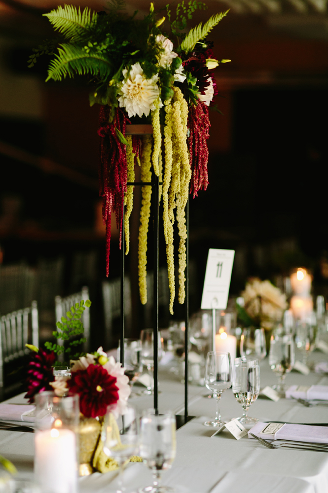 Modern Tall Fall Wedding Centerpiece