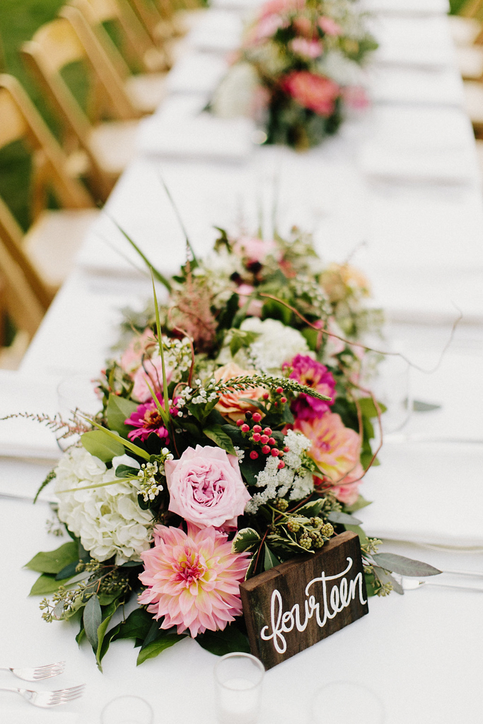 Rustic Wood Table Numbers with Wildflower Style Centerpiece for Camp Wedding