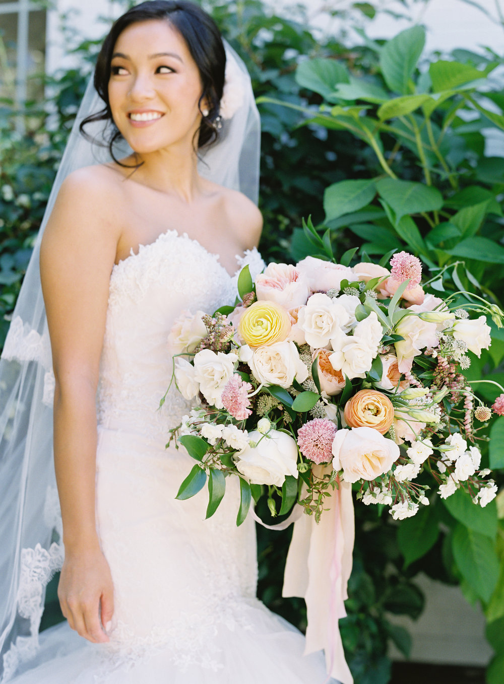 Garden Style Pink, White, Coral and Green Wedding Bouquet