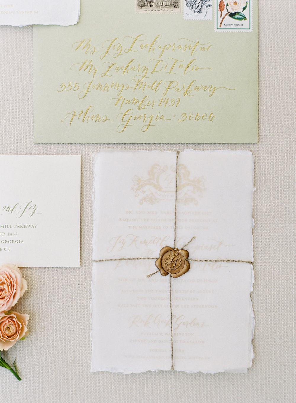 Elegant Wax Seal Calligraphy Wedding Invitation