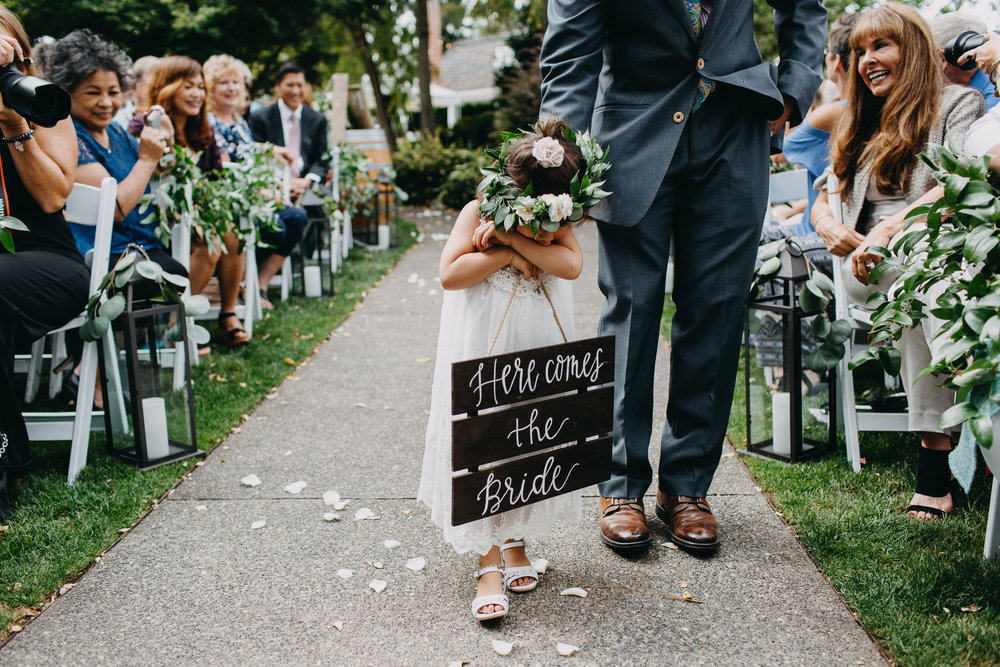 Bashful Flower Girl with Here Comes the Bride Sign