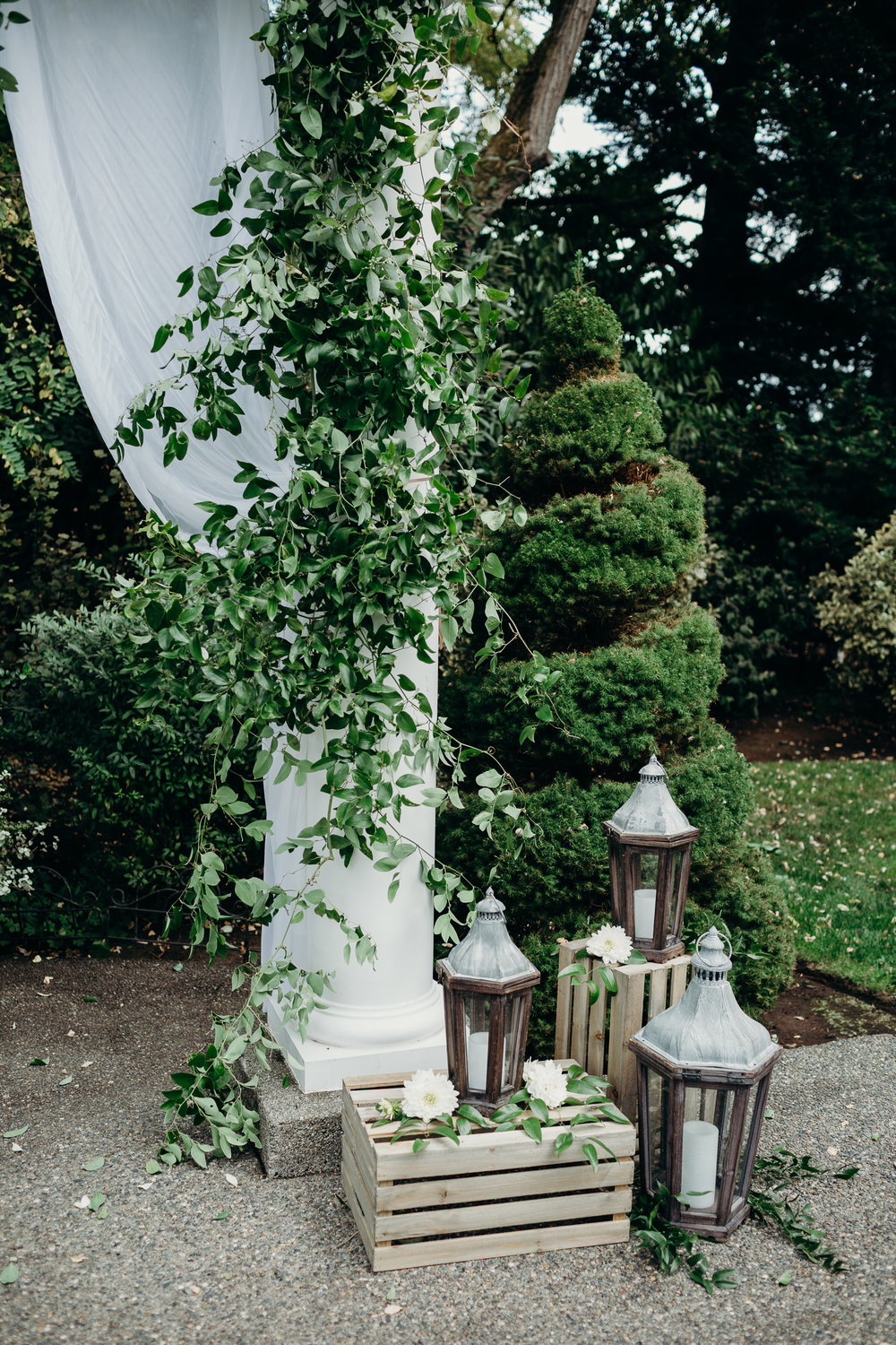 Rustic Greenery Wedding Arbor with Lanterns
