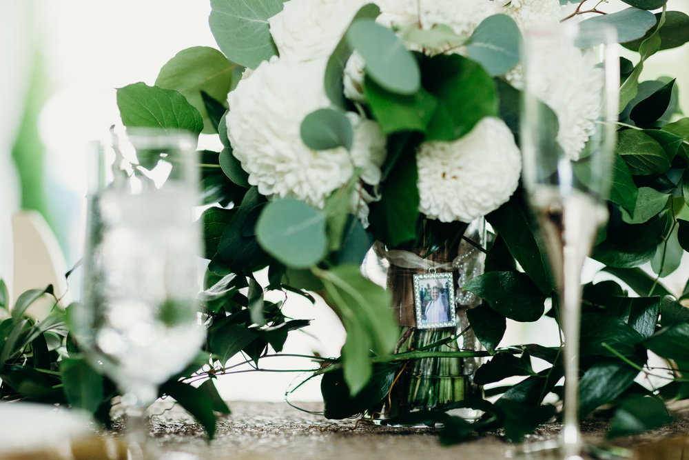 Green and White Wedding Bouquet Something Blue Charm
