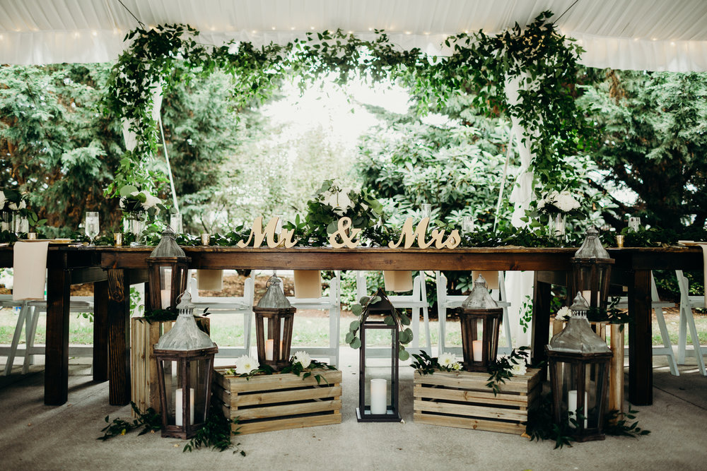 Rustic Wood Head Table at Laurel Creek Manor Wedding