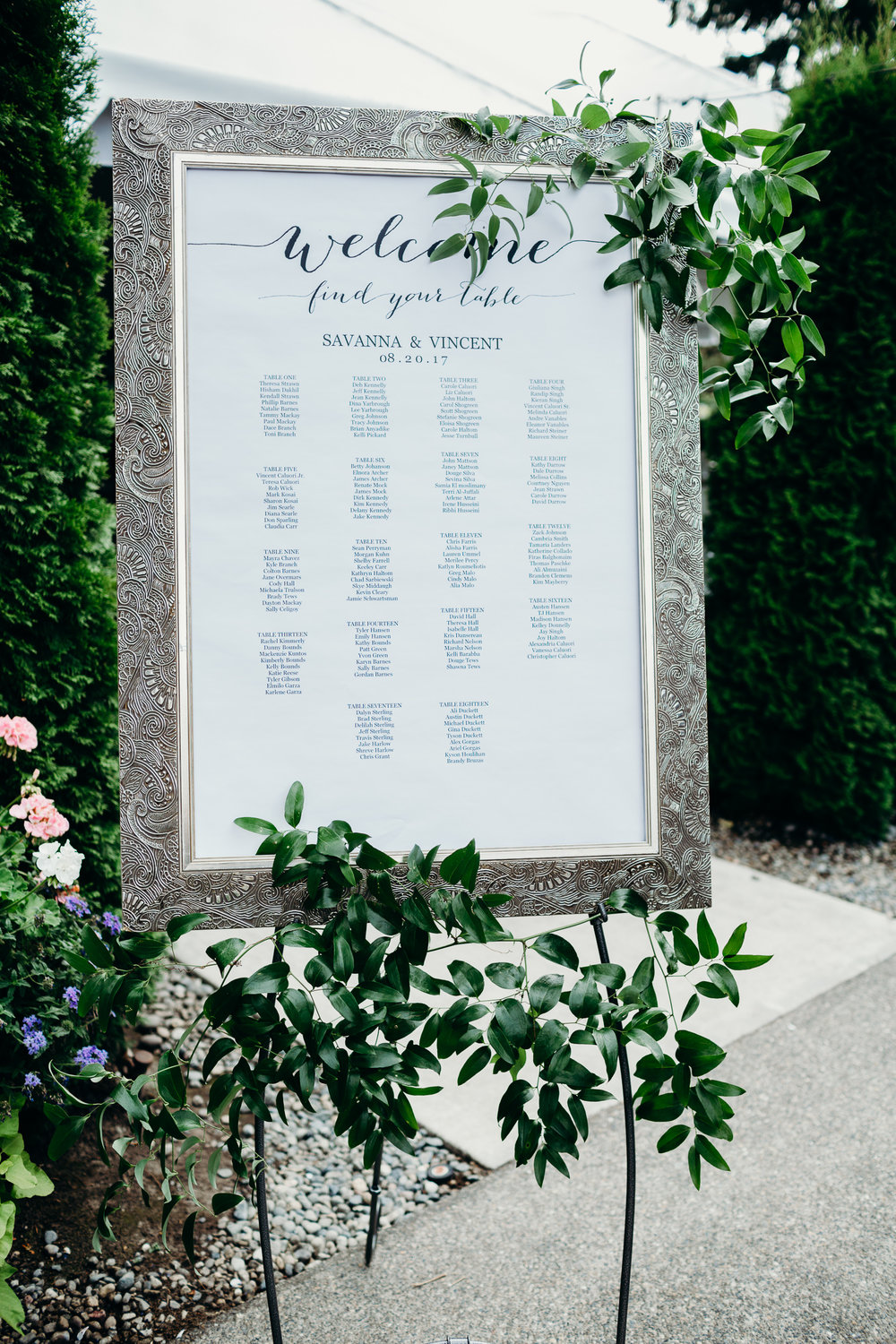 Framed Welcome Sign with Greenery Wedding