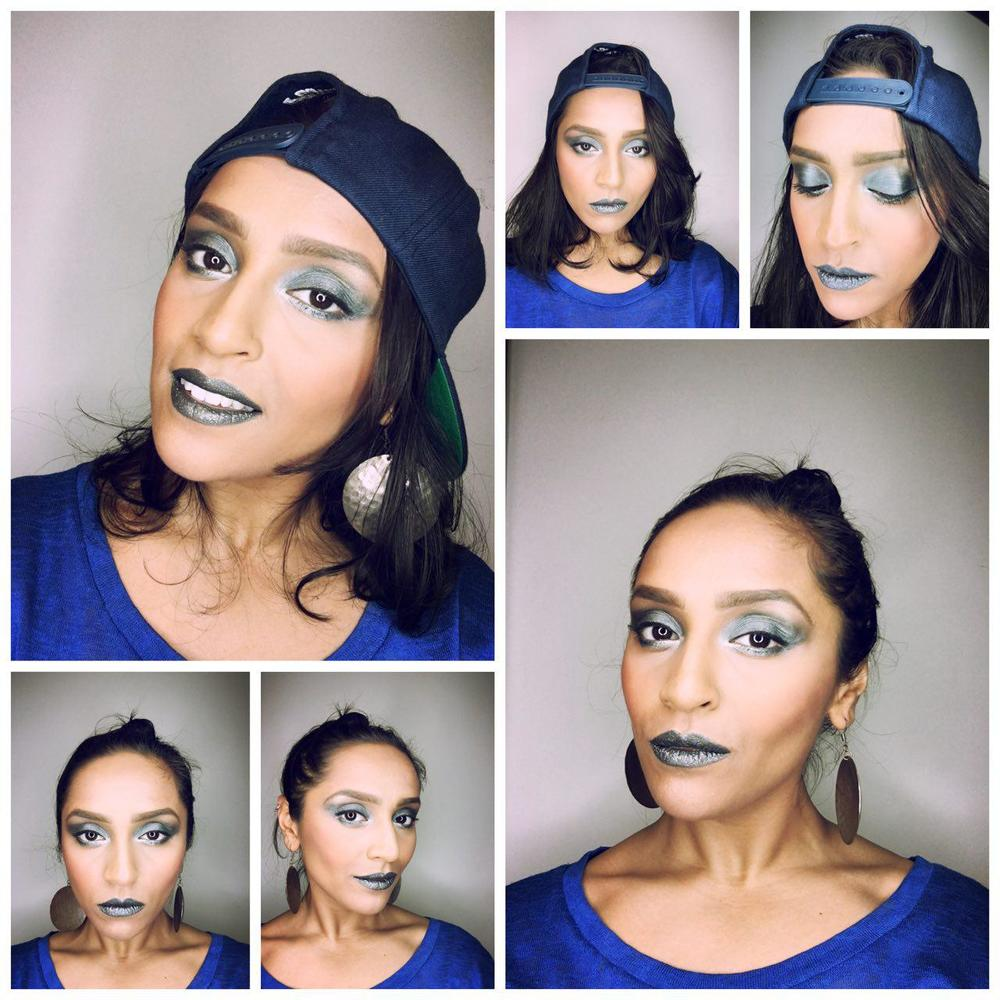 Me - similar to Missy's look but adding blue metallic tones to the eyes and lips