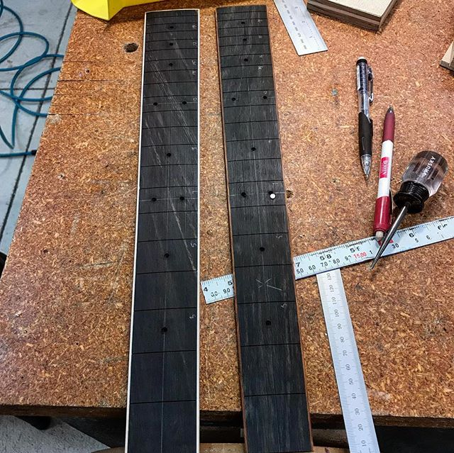 The various stages of a fingerboard fret and dot installation. There's a lot that goes into these parts and everything needs to end up being fairly accurate so I really look forward to making these. Believe it or not, these will require several more hours of work before the fat little lady starts to sing. #guitar #acousticguitar #12stringguitar #fingerboard #ebonyfingerboard #guitarparts #accuracy #luthier #handmade #madeintheusa