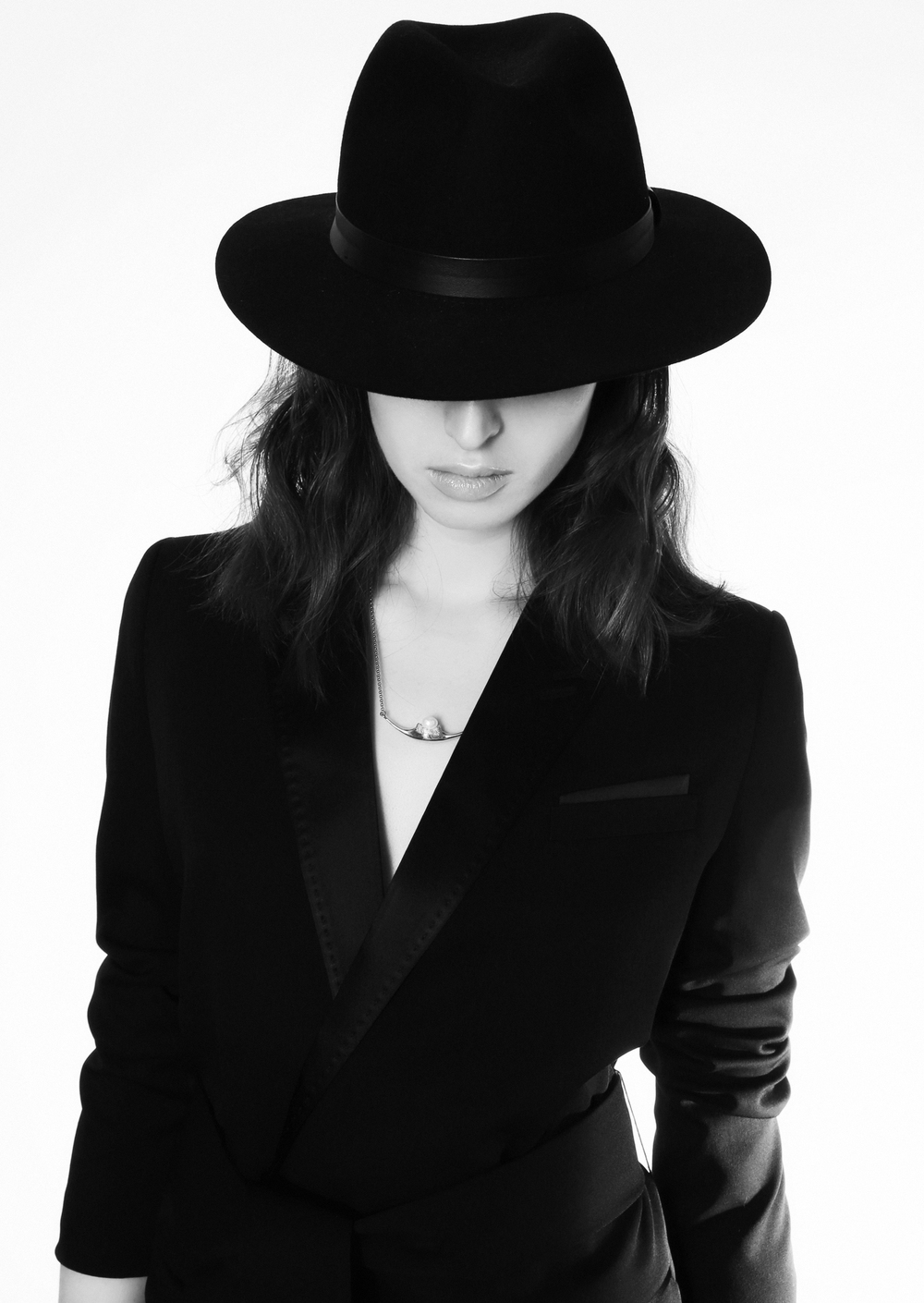 Hat, stylist's own, belted suit jacket with satin details, the Kooples, necklace, Antipearle