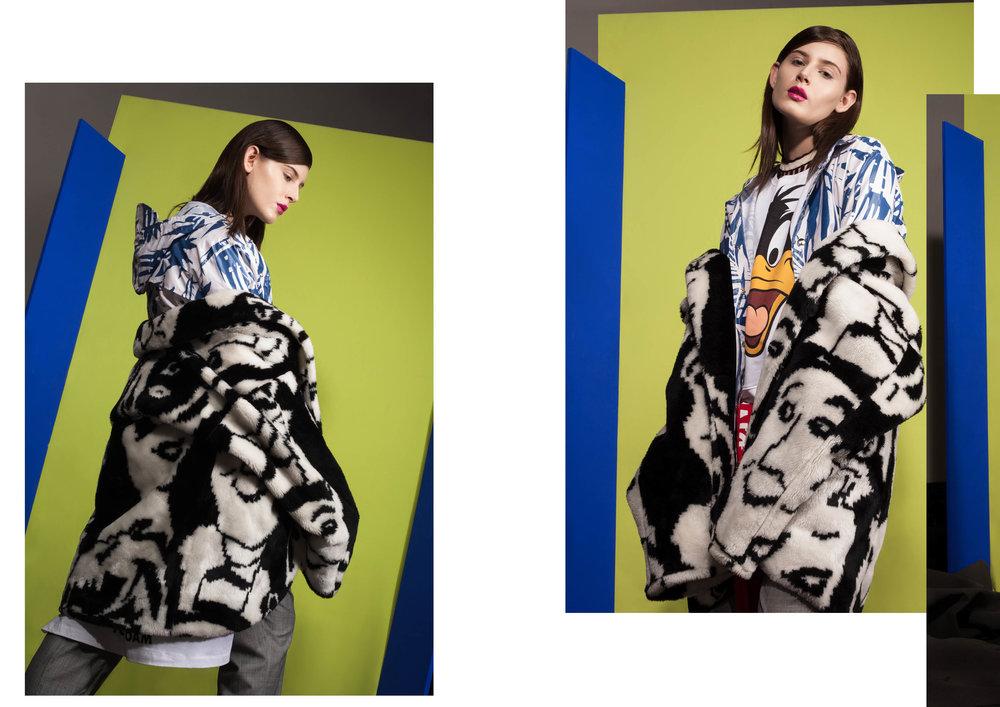 Top de gola alta Renata Campos;Casaco de pelo Brechó Minha Avó Tinha;Casaco de chuva Cotton Project;Moleton estampado Bazar Modelo Bom;Top de tricot Coven;Camiseta amarrada na cintura Diesel;   Calça Crawford.