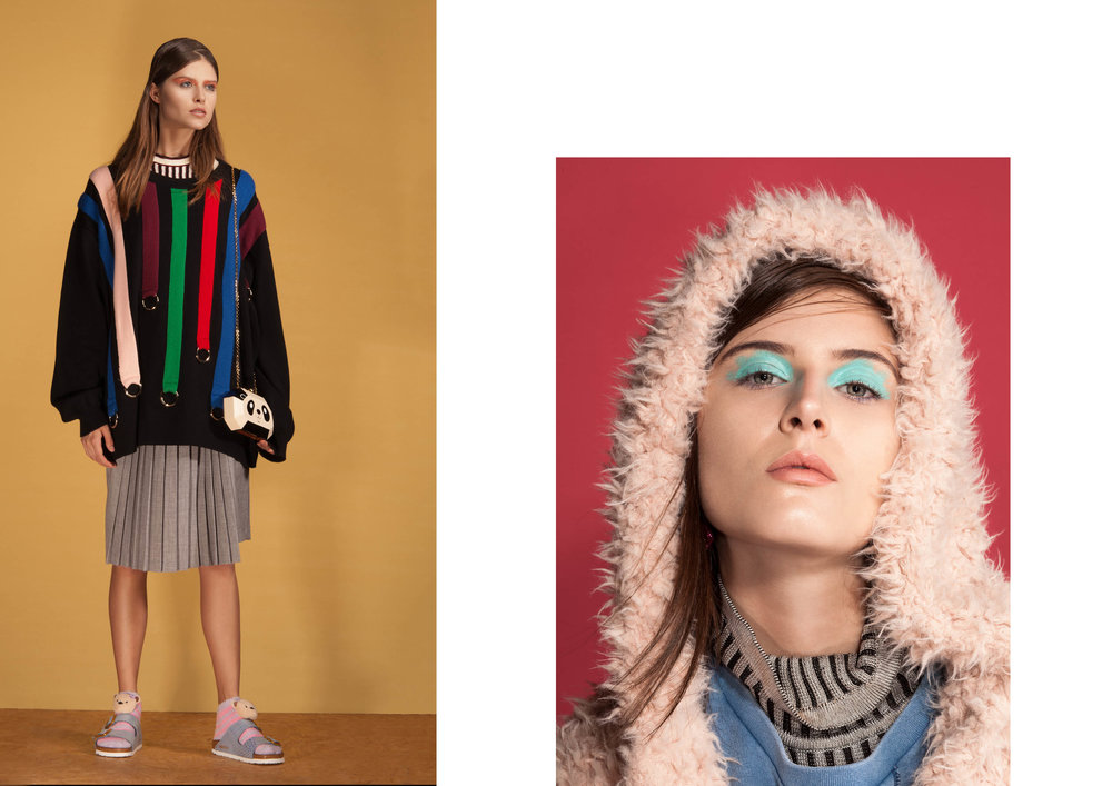 bolsa Riachuelo por Karl Lagerfeld;Moleton de tricot Juliana Jabour;top de Tricot Coven;Saia Forever 21;Bolsa Serpui Marie;Meia Any Any;   Sapato Birkenstock.