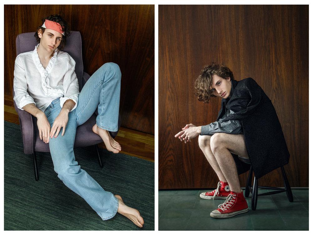 À esquerda: calça Terra; camisa acervo; lenço Dior  À direita: blazer Fendi; camisa Luigi Bertolli; shorts Tufi Duek; tênis All Star
