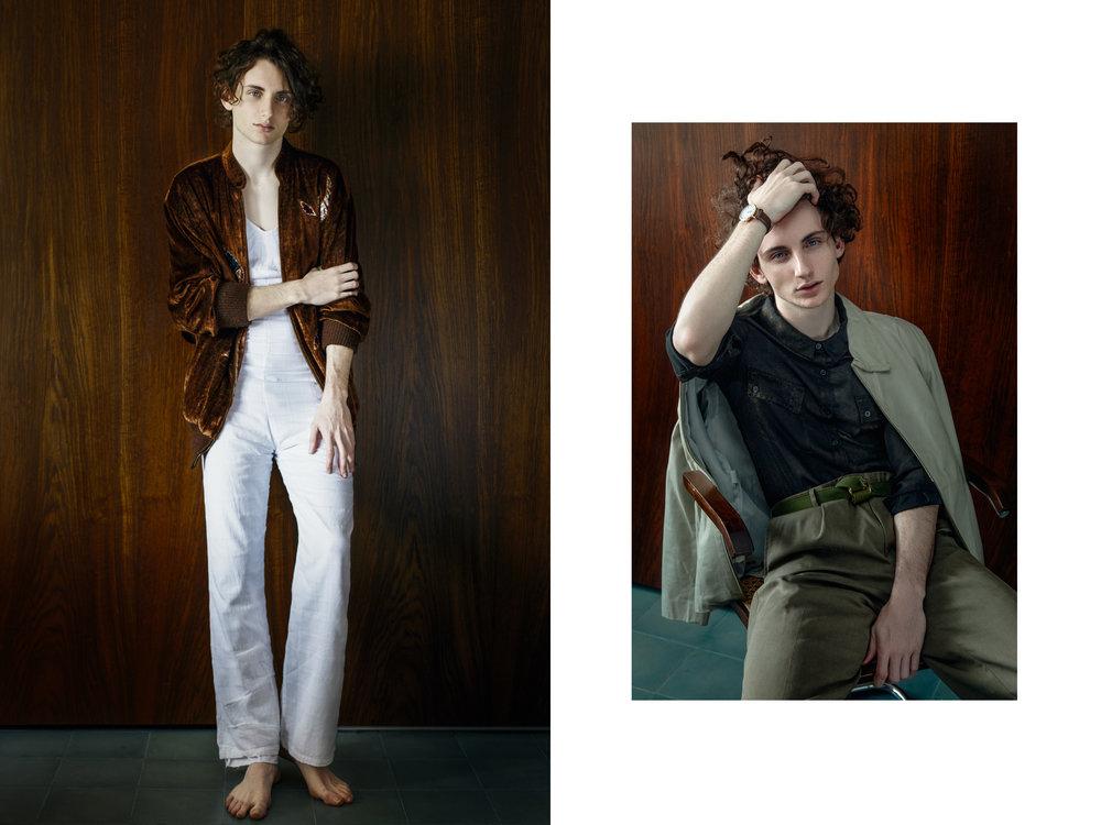 À esquerda: jaqueta Linea Laura; macacão acervo  À direita: jaqueta acervo,camisa Letage; calça Tweed Store; cinto acervo, relógio Exaixo
