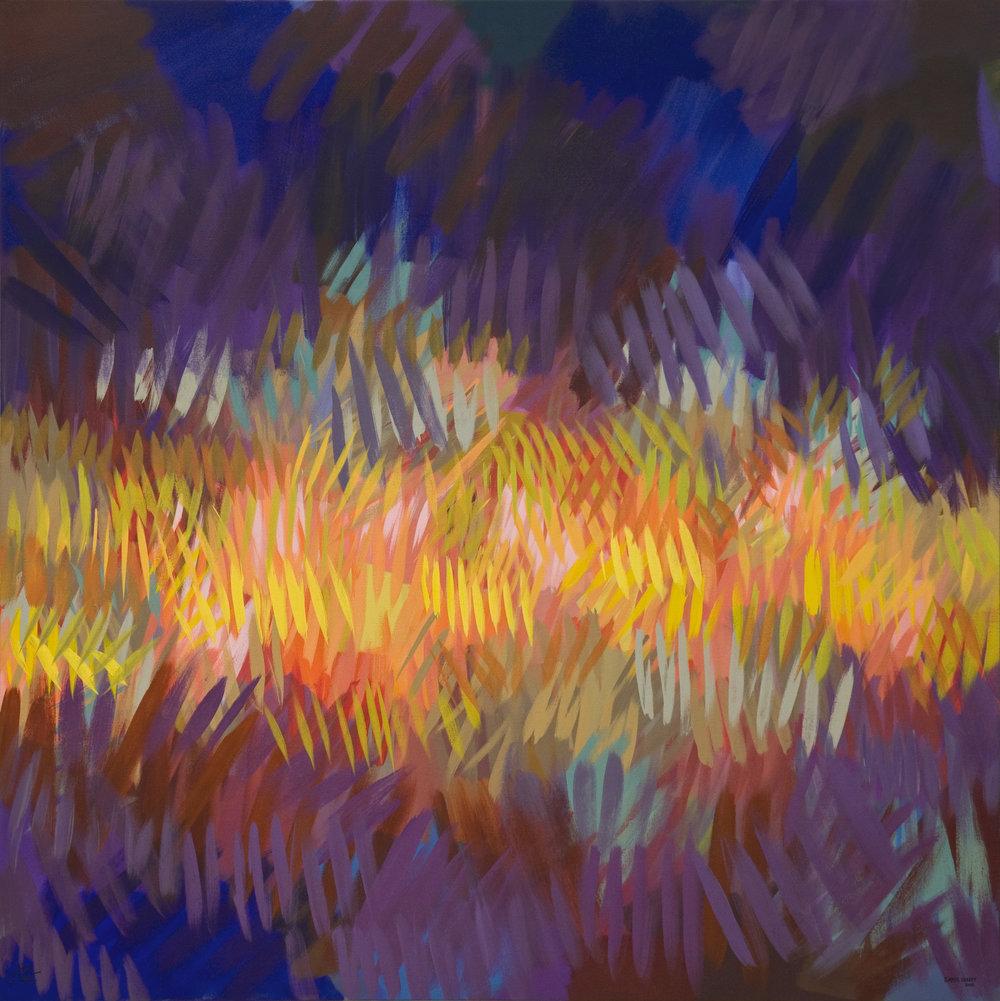 Volcano (2015), da exposição solo Illuminated Space da artista Samia Halaby, que se estende até junho na Ayyam Gallery, na Arsekal Avenue