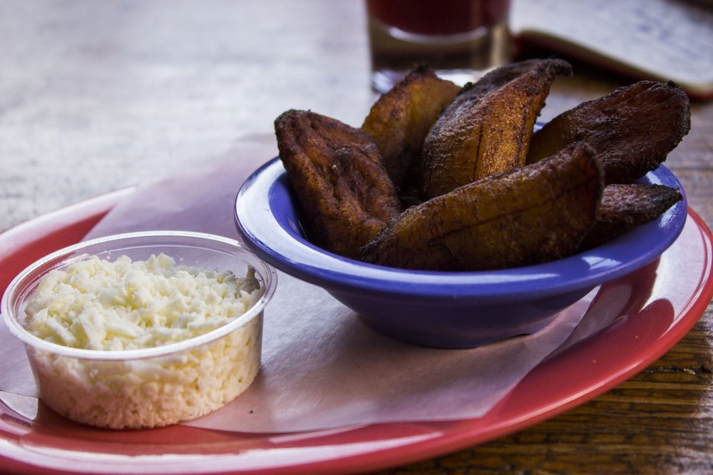 Fried sweet plantains with quesco fresco.