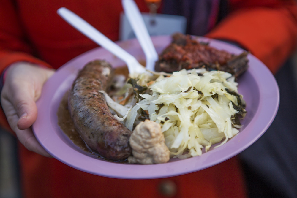 Delicious sausage & brisket from The Branch Restaurant in Kemptville. Complete with slaw and saurkraut with kale!