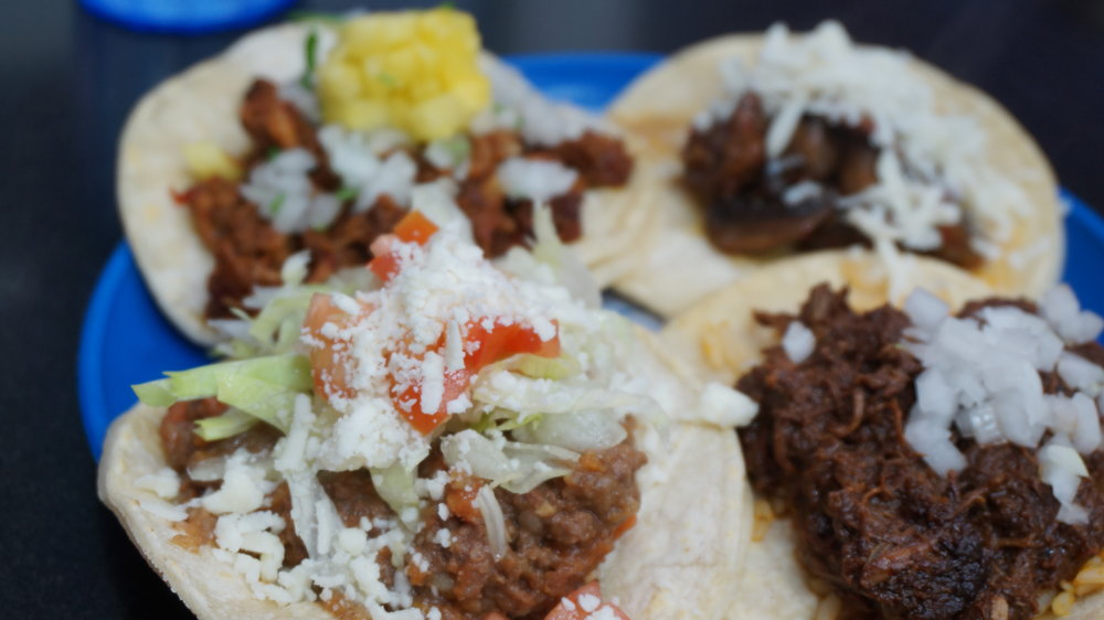 Chicken Mole, Pinapple Asado Pork, Mushroom and Beef & Cheese tacos