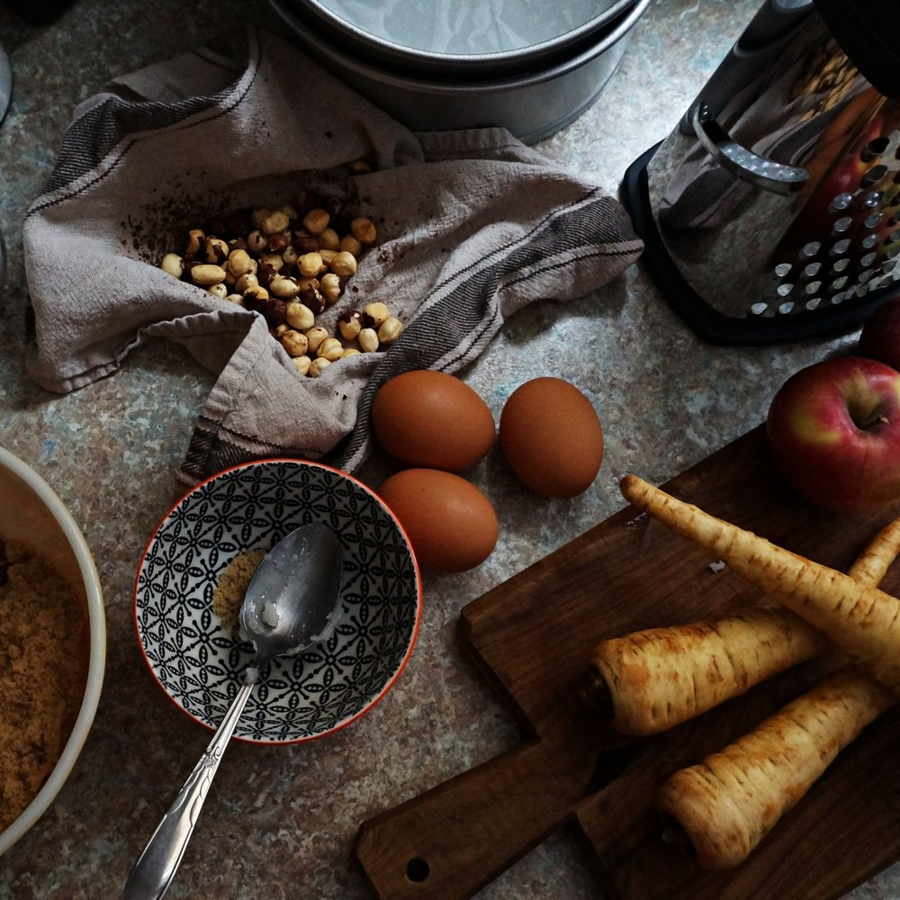 Local eggs, apples & parsnips make delicious cake.