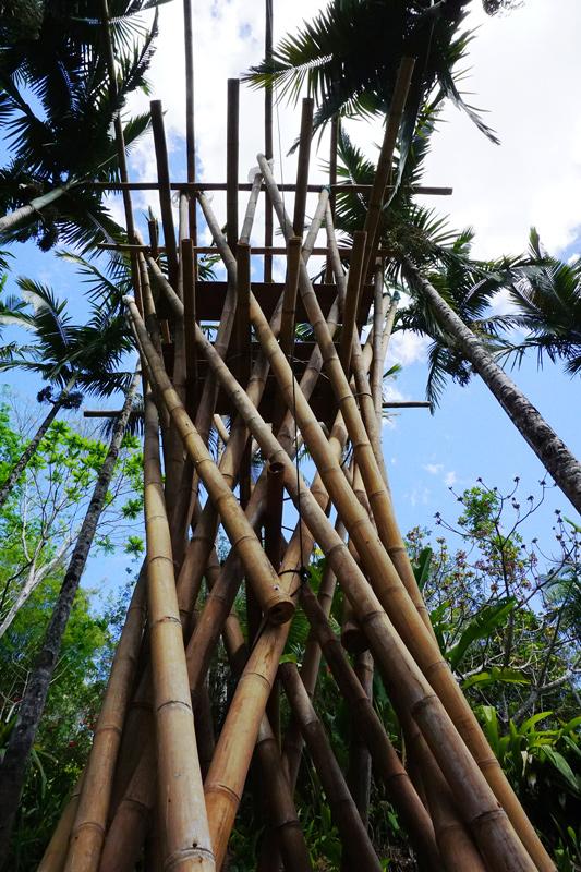 estrutura de torre de bambu sem teto