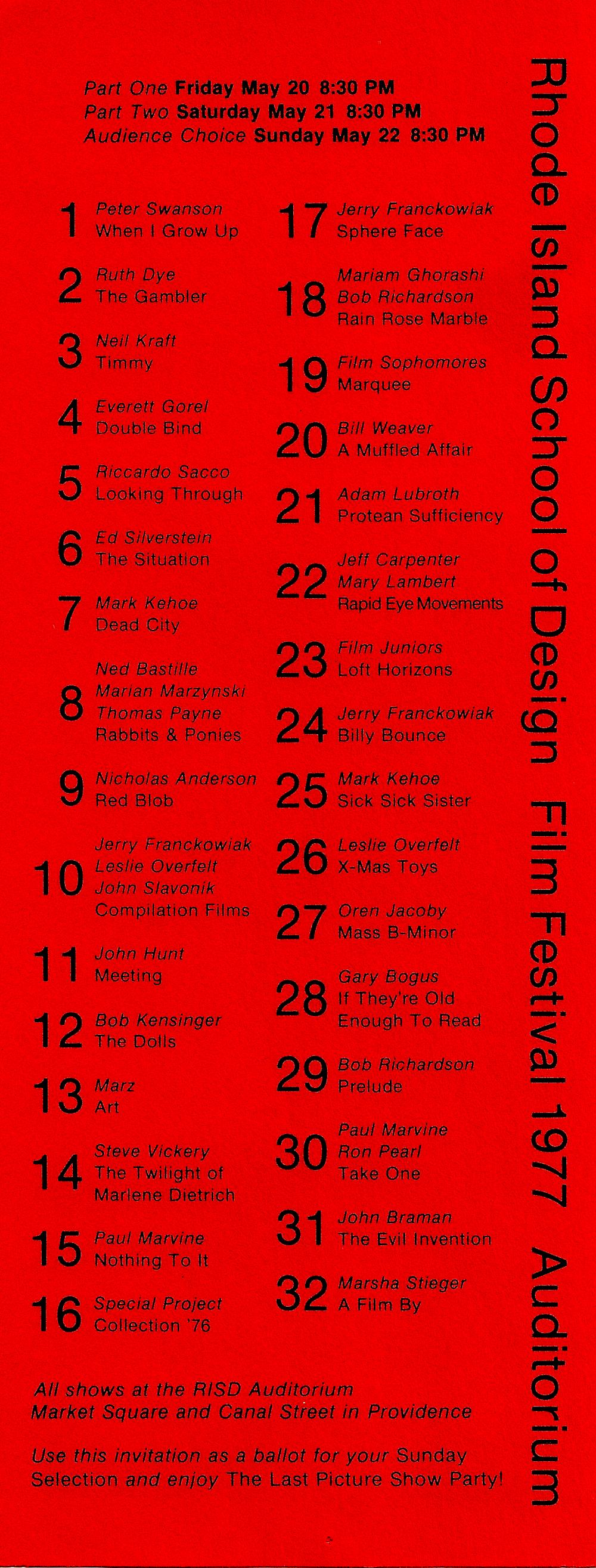 RISD Film Festival 1977 - Program