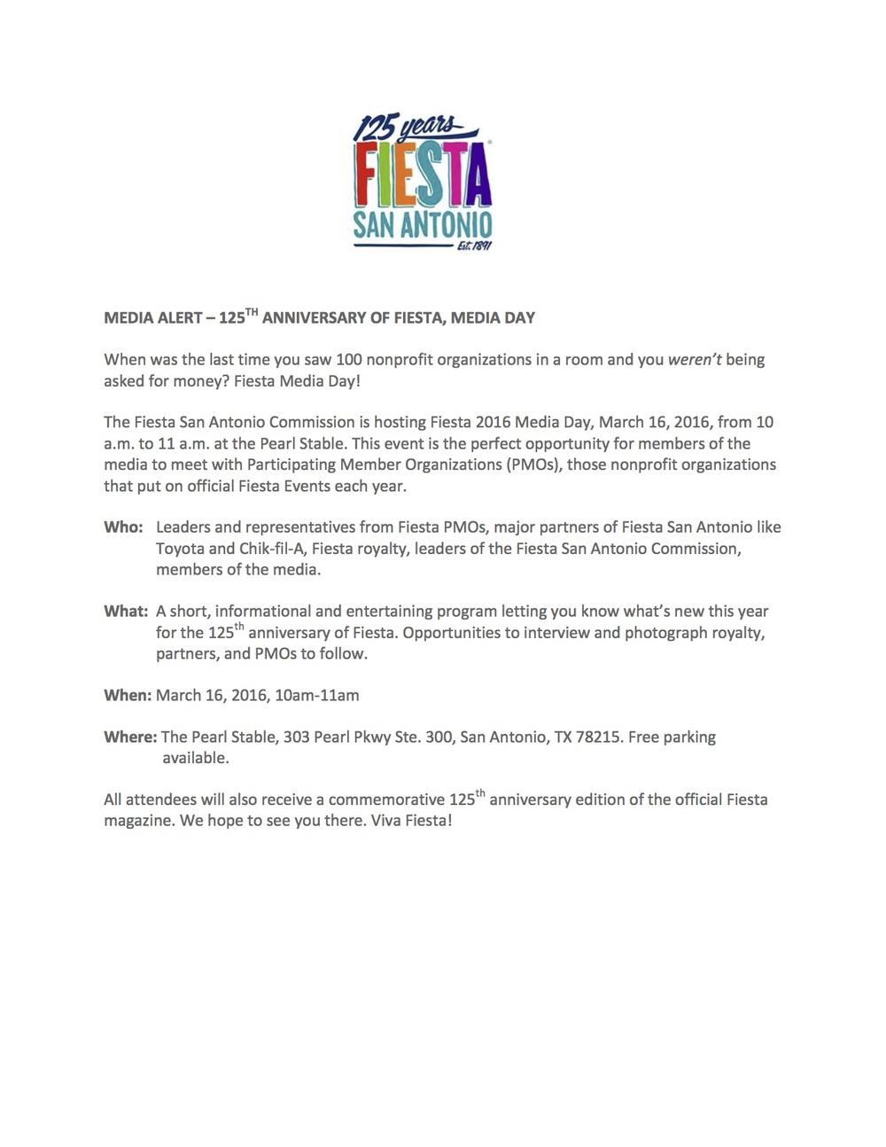Media Alert: Fiesta Media Day