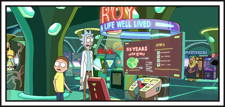Rick and Morty playing with the Virtual Reality Simulator:Roy: A Life Well Lived