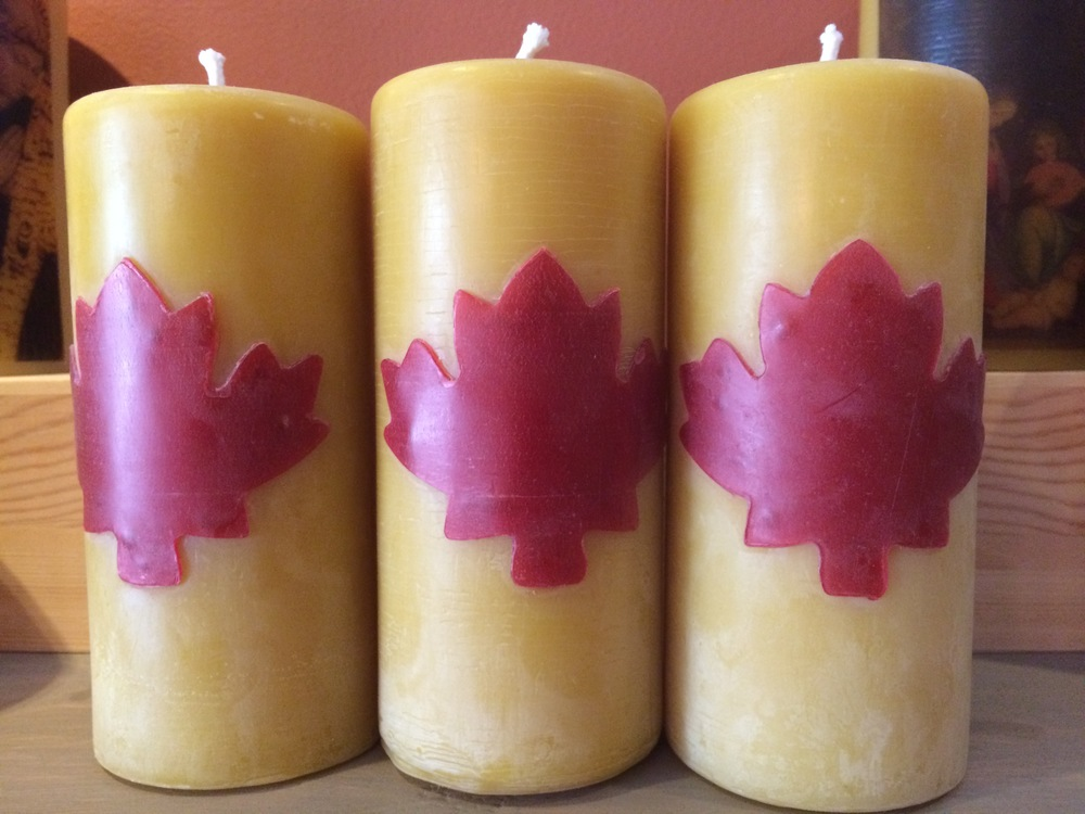 Pure Beeswax Candles Maple Leaf.JPG