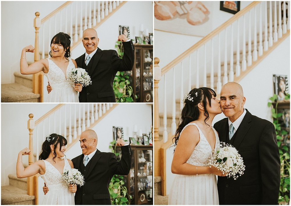 Bride with Dad before walking down the aisle at this Backyard Albuquerque Elopement | Downtown Contemporary Art Studio | Albuquerque, New Mexico | Jasper K Photography