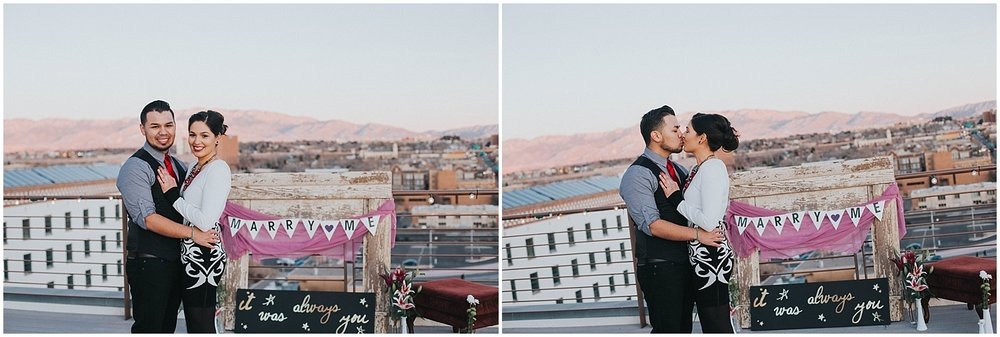 This surprise proposal at the Albuquerque Banque Lofts will have you swooning over downtown Albuquerque. | Albuquerque Engagement Photography | New Mexico Engagement Photographer | Jasper K Photography
