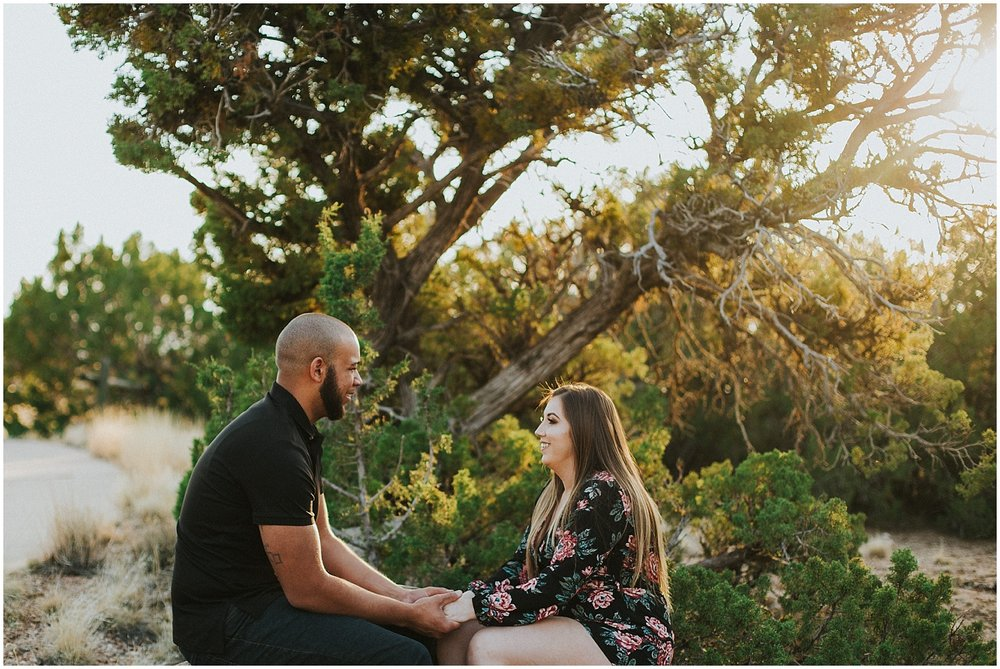 I had a blast photographing Marvin + Brianna's adorable engagement photos at the Elena Gallegos Open Space in Albuquerque, New Mexico. The beautiful golden light the shines through the desert area of Elena Gallegos Open Space will seriously have you like Goldmember in Austin Powers loving GOLD…