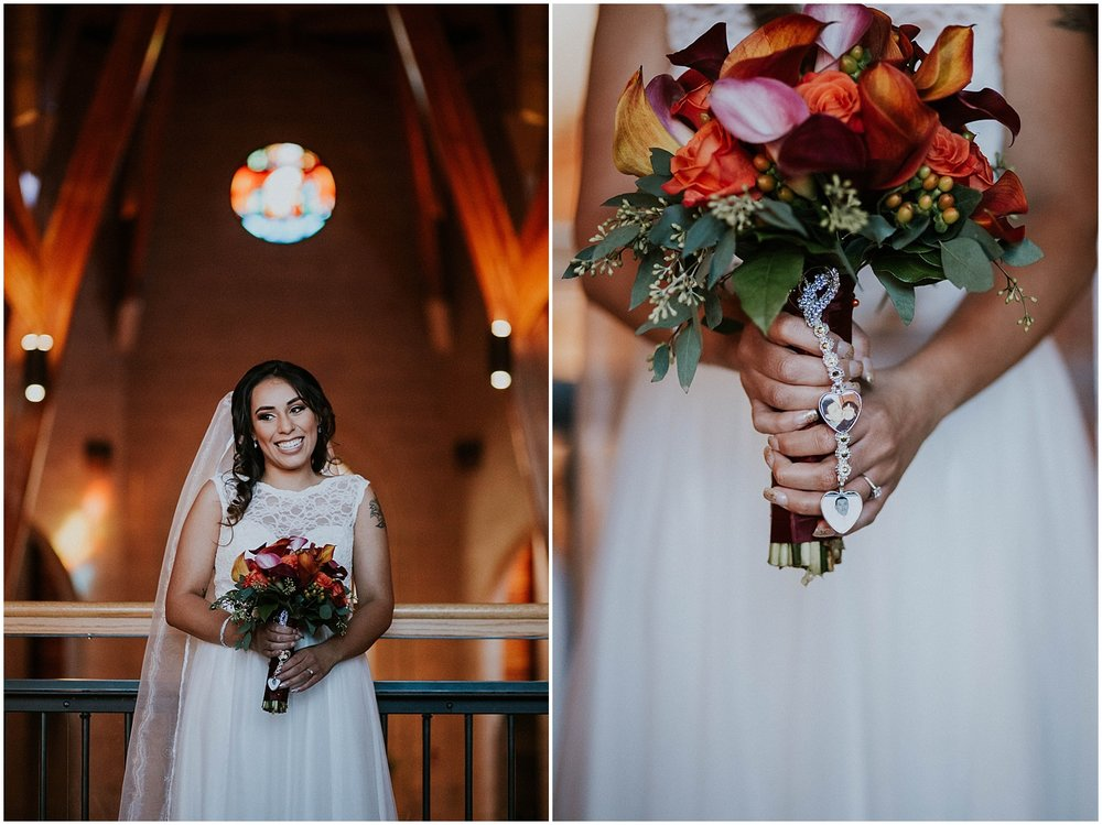 "Nichole and Joshua said ""I Do"" on a beautiful autumn day surrounded by 120+ of their closest friends and family. They chose Our Lady of Loreto Catholic Church and the Valley Country Club in Aurora, Colorado as their venues. ""Fall Vibezzz"" were the inspiration for the wedding decor and man, was it DREAMY AF. Accents of maroon, gold, and burnt orange radiated the room..."