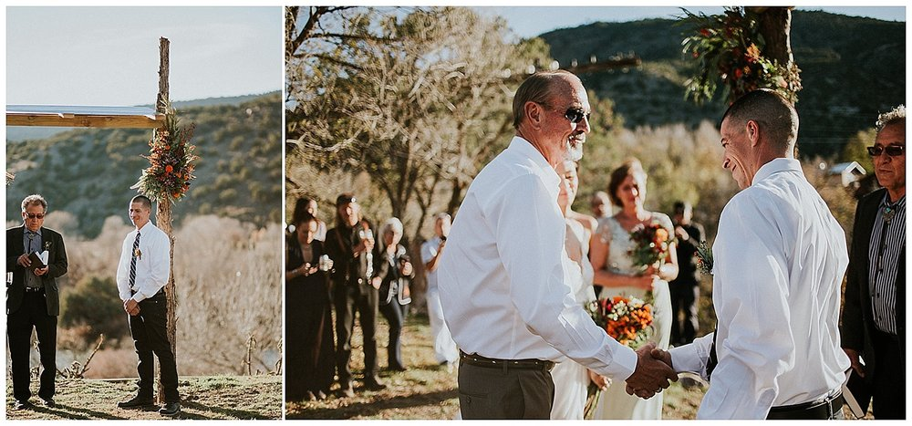 The ceremony overlooked the Rio Grande river and was blessed by Marcos' father. Guests enjoyed acoustic Spanish guitar and traditional New Mexican food from Stray Dog Cantina (Taos Ski Valley). An Italian wedding cake by Debbie de Taos and a S'mores pit kept the party going as well as the vintage Airstream lounge (The Rolling Social) transforming their backyard into a kick ass dance party.