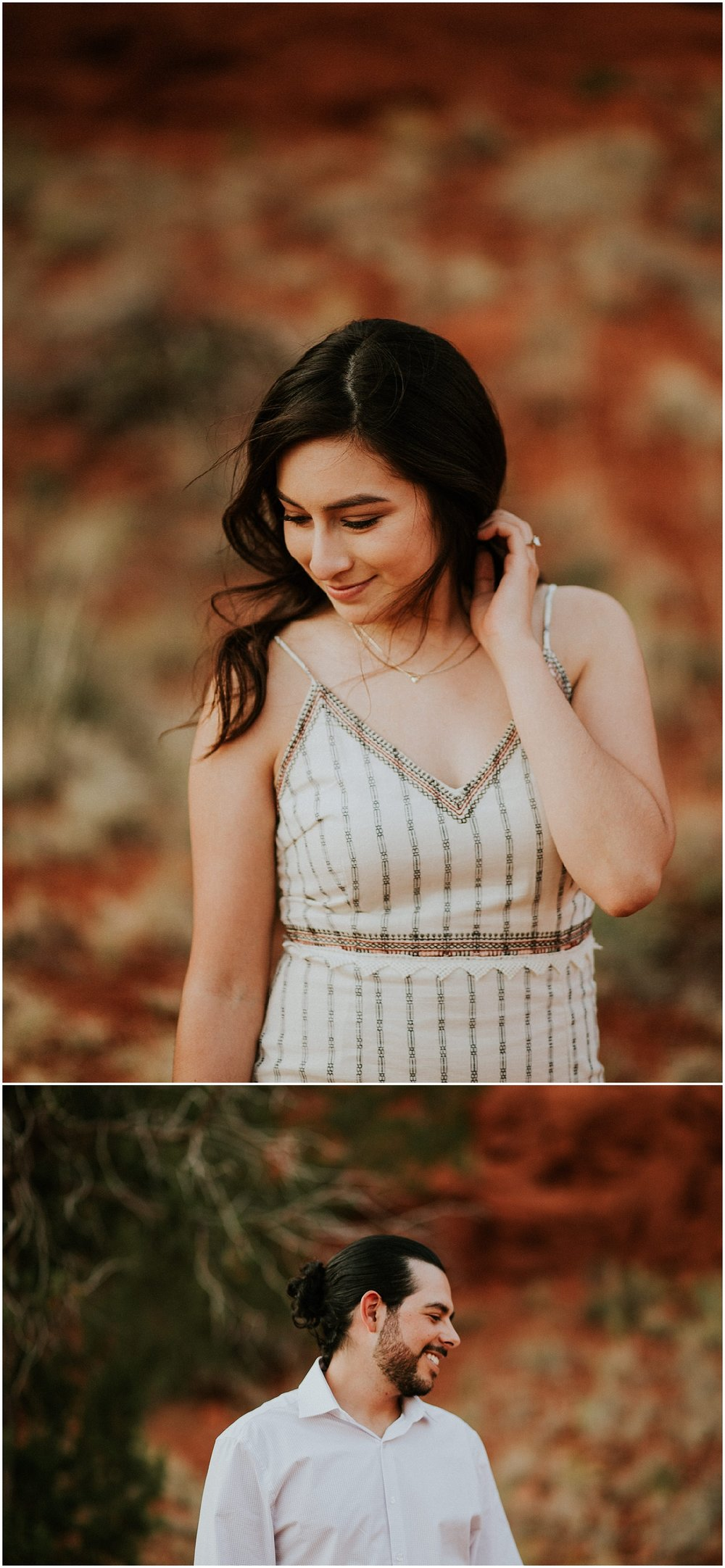 I met Tammy + Mike in the wonderfully scenic Jemez Springs to document their love. Guys, their engagement sesh will ALWAYS be LITERAL GOALS AF. Tammy wore a beautiful dress from Wanderer and Mike was looking mighty dapper. Shooting in Jemez is an incredible delight that would make any photographer have a happy dance. Jemez has a variety of beauty whether it's the lush greenery or the beautiful red rocks. I had a blast with these cuties and to this day this is one of my absolute favorite engagements sessions EVER!