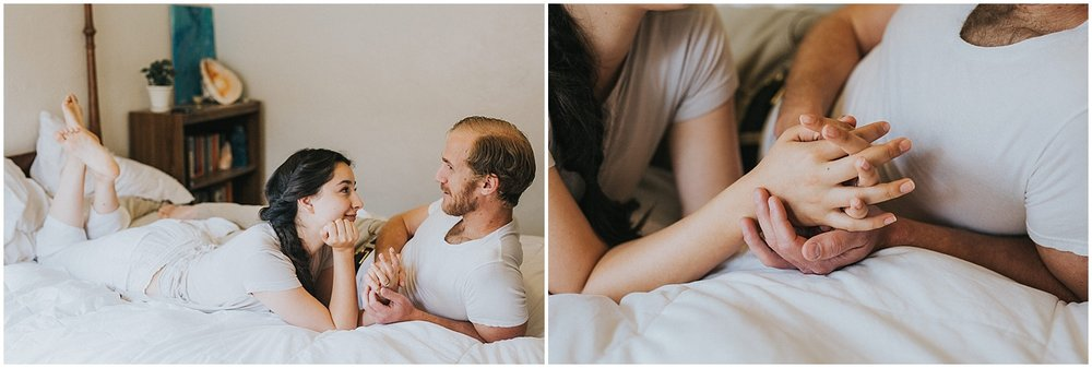 I captured Wyndra + Matt's engagement session on a rainy spring morning in downtown Albuquerque, New Mexico. Most of my engagement sessions are outdoors with the New Mexico landscapes as the backdrop, but Wyndra + Matt opted for a cozy in home session + I was ALL for it. Capturing their beautiful love story in their aesthetically gorgeous home with their cutie pie fur babies? YES PLEASE!..