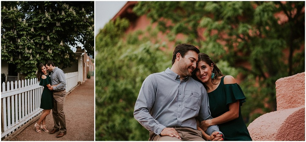 "When it came to choosing a location for their engagement photos, it was an easy choice to start our session with the beautiful architecture of the Scottish Rite Temple in Santa Fe and then exploring to Canyon Road. Juan and Aurora like exploring Santa Fe, and pretending to be ""Santa Fancy"" so that is exactly what we did. Canyon Road was pleasantly calm the time of the year so it was easy for us to get all ""Canyon Road Fancy"" for their beautiful Santa Fe engagement photos."