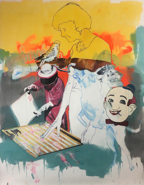 """All and Sundry, Acrylic on Evolon, 96"""" x 72"""", 2016."""
