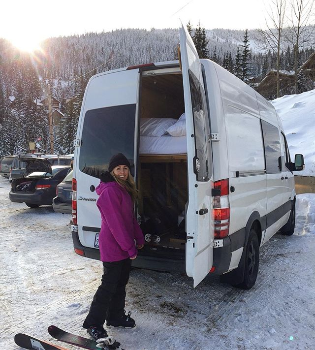 Opening weekend at @schweitzer_mountain! Up here, Shaq does double duty as a ski locker and aprés shack. #vanlife #sprintervanlife