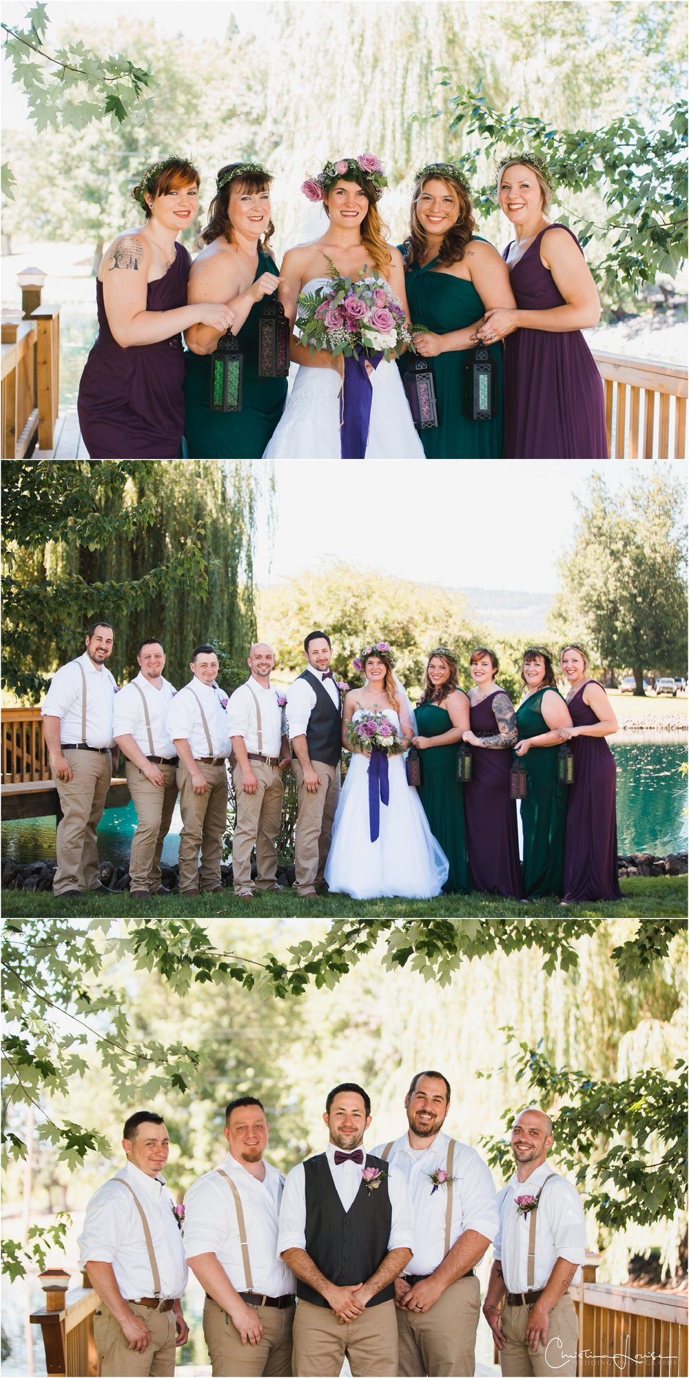 Top: Candace w/bridesmaids Madonna, Brittany, Cindy & Lindsay; Bottom: Groom w/groomsmen Taylor, Steve, Reggie & Joel.
