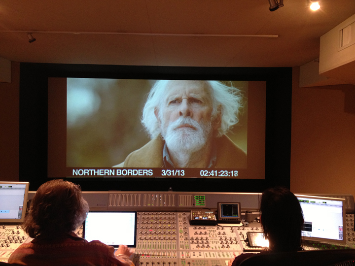 The film mix for  Northern Borders  at Sound Lounge, NYC. Director Jay Craven, left, Bruce Dern, on screen, and film mix engineer, Dan Timmons, right.