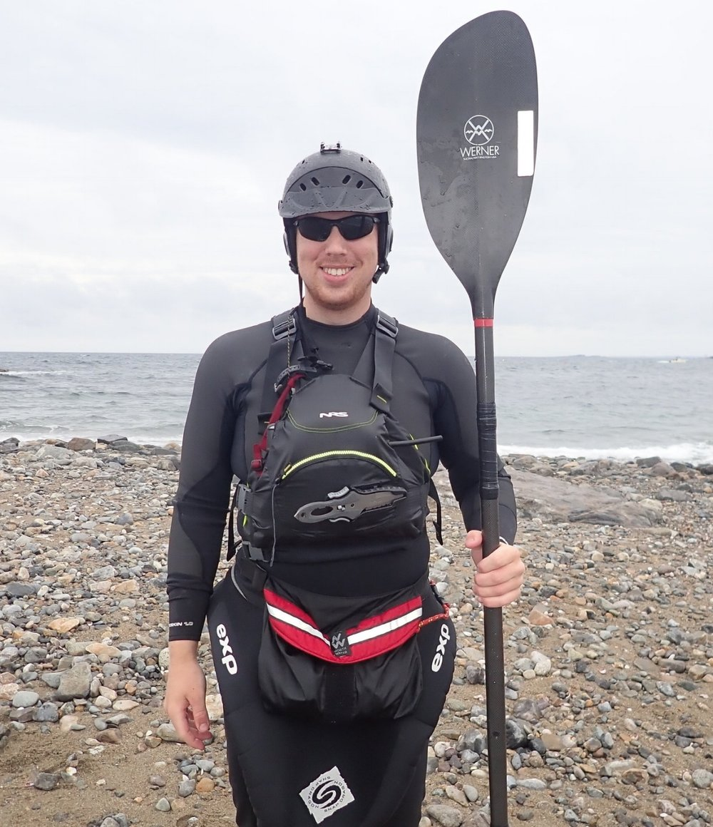 Alex Debski - Alex is an avid sea kayaker who loves to challenge his skills in the surf zone. Receiving formal instruction through Rock, Paddle, Surf, Alex is very excited to be instructing and guiding tours now. Born in Salem and now attending school for Marine Biology in Rhode Island, Alex gets to paddle in the best locations year round.