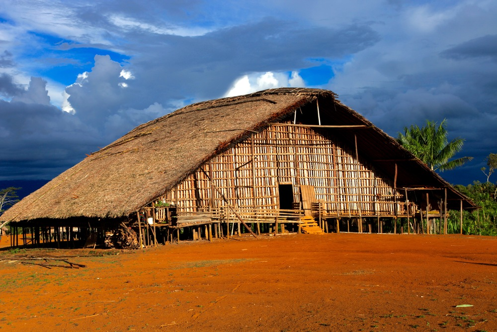 Kosua Tribe Haus Man-Village Near Mount Bosavi