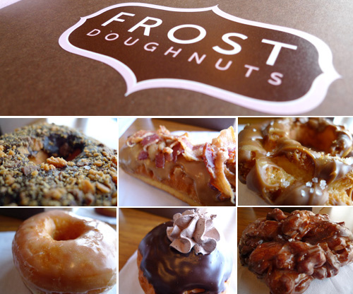 Frost Doughnuts: (Clockwise from Left) Butterfinger Blast, Smokey Bacon Maple Bar, Salted Caramel, Raised Glazed, Malted Milk Chocolate Mousse, Caramel Apple Fritter