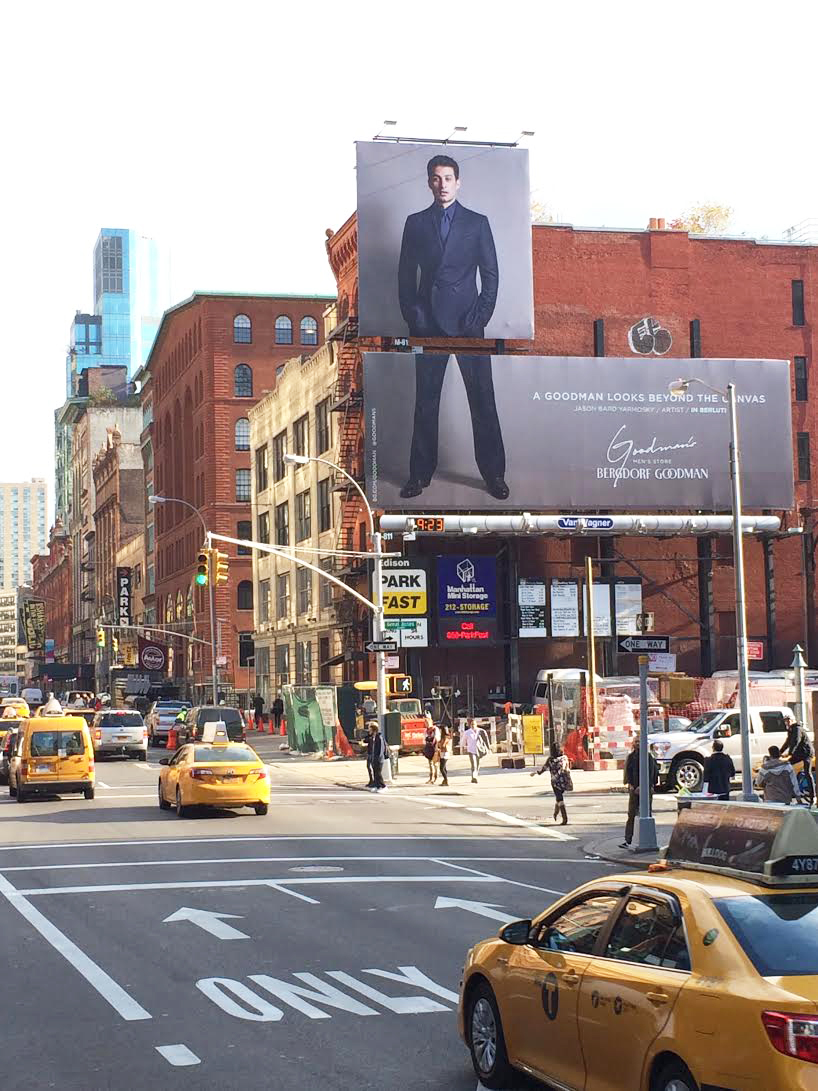 Featured Artist for the Goodman campaign for Bergdorf Goodman. Billboard on Lafayette and Great Jones Street in SOHO New York City  ( A Goodman Looks Beyond The Canvas - Jason Bard Yarmosky / Artist / In Berluti )