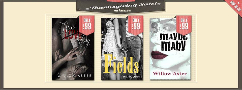 willowaster: So grateful for all of you. Happy Thanksgiving! True Love Story by Willow Aster -http://www.amazon.com/gp/product/B00BHF7ULY In the Fields by Willow Aster - http://amzn.to/11TESRI Maybe Maby by Willow Aster - http://amzn.to/11TF6Z3 Sale goes through Sunday, the 30th! Thankful for every single one of you who reads my books. Thank you from the bottom of my heart.