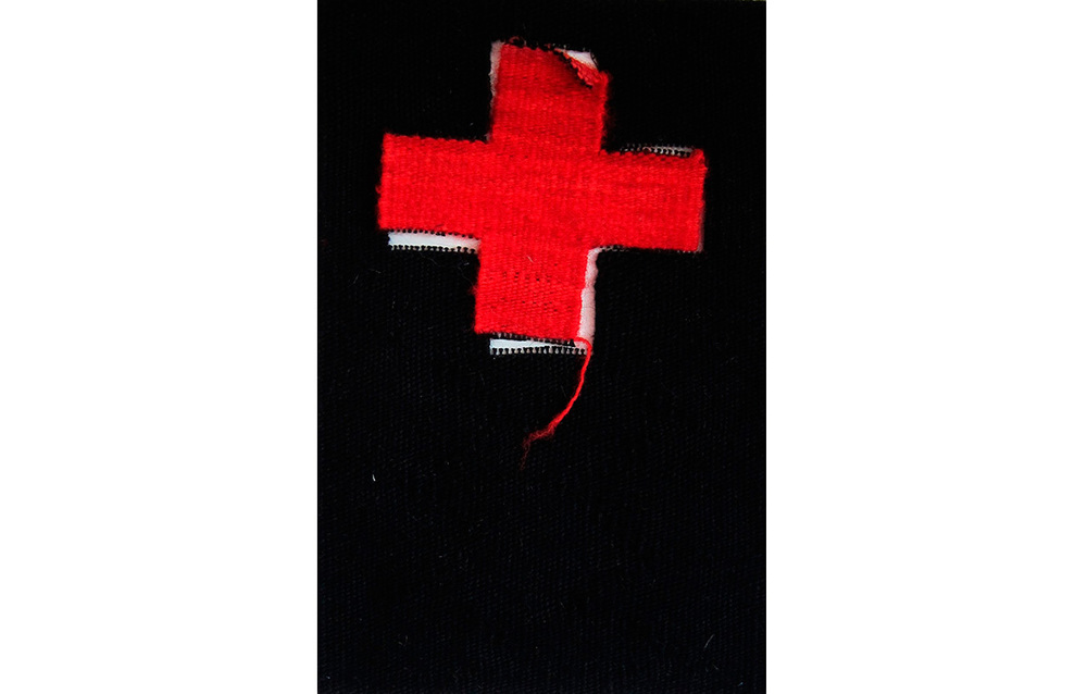 "Red Crosses 13B , Tapestry, wool on cotton, 12"" x 7.5"""