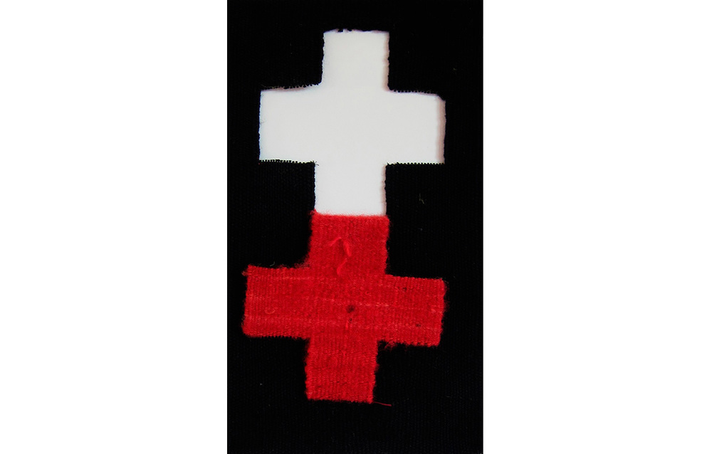 "Red Crosses 17A , Tapestry, wool on cotton, 12"" x 7.5"""